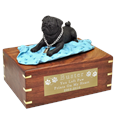 Black Pug on Blanket Wood Urn with engraved plaque