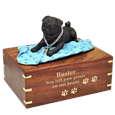 Black Pug on Blanket Wood Urn with engraved front gold fill