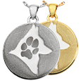 Round Disc Paw Print & Silhouette Pet Memorial Jewelry in silver and gold