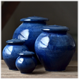 Blue Galaxy pottery urns in 4 sizes