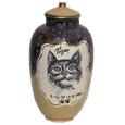 Pet urn with cat portrait plus name and dates