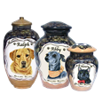 Pet Memorial Portrait in Acrylic on your choice of ceramic urn style