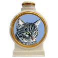 pet cat portrait white ceramic urn