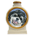 pet dog portrait white ceramic urn