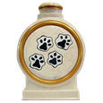 4 paw prints on back of ceramic pet portrait urn