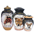 Custom Pet Portrait urns in different sizes