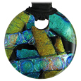 Pet Memorial Glass Urn Jewelry: Classic Embrace Round Blue-Green-Gold