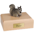 Grey squirrel figurine wood urn
