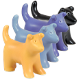 Puppy figure keepsake dog urn in yellow, blue, purple and black