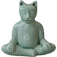 Buddha cat urn available in celadon crackle