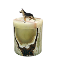 German Shepherd dog figurine urn on patterned green marble