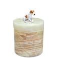 Jack Russell Terrier on light green marble urn