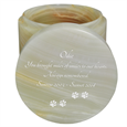 Light Green Onyx Marble Pet Urn lid shown engraved