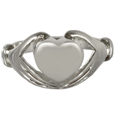 Front view of Sterling Silver Heart Ring urn jewelry