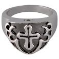 Front view of Pet Cremation Jewelry Sterling Silver Men's Cross Ring- Black