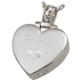 Engraving shown on front of Heart Filigree Bail pet urn jewelry