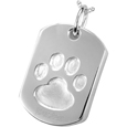 Paw Print Dog Tag Cremation jewelry shown engraved above paw print