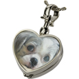 Pet Urn Jewelry shown with puppy photo