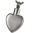 Back shown engraved Pet Cremation Jewelry Stainless Steel Paw My Heart