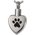 Front view shown of Pet Cremation Jewelry Stainless Steel Paw My Heart