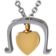 Back view of Pet Cremation Jewelry Stainless Steel Bold Heart
