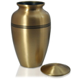 Golden Classic Cremation Pet Urn shown with open threaded lid