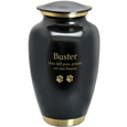 Large Dog Urn - Dark Pewter with Two Gold Bands shown engraved