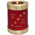 Pet Memorial Candle Holder Dog Urn- Scarlet engraved with snowflakes