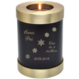 Pet Memorial Candle Holder Cat Urn- Espresso engraved with snowflakes