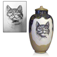 Original supplied photo shown with finished pet memorial portrait on urn