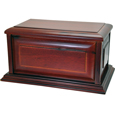 Shown plain with no engraving, Classic Cherry Finish Dog Urn- Raised Panel