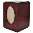 Cherry Finish Wood Urn with Oval Photo Frame Urn back shown engraved
