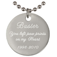 Engraved Rhodium-plated Round Pendant with chain script font