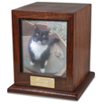 Elegant Photo Wood Pet Urn shown with cat photo