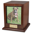 Elegant Photo Wood Pet Urn shown with dog photo