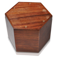 Base shown of paw print hexagon wood pet urn