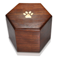 Shown without engraving Paw Print Hexagon Wood Pet Urn