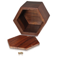 Paw print hexagon wood urn show with open lid
