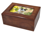 Memory Chest Wooden Box Cat Urn with Photo Window