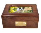 Front shown with engraved plaque wood pet urn memory chest