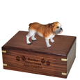 Wood engraving shown on front of Bulldog Figurine Wood Urn