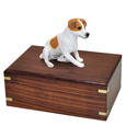 Urn shown with Jack Russell Terrier dog figure only; no plaque or engraving