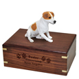 Wood engraving shown on front of Jack Russell Terrier urn