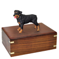 Rottweiler Figurine Wood Urn shown with no engraving