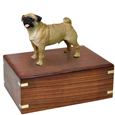 Urn shown with Pug dog figure only; no plaque or engraving