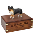 Wood engraving shown on front of Sheltie Tri-color Figurine Wood Urn