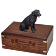 Wood engraving shown on front of Black Labrador Retriever Figurine Wood Urn