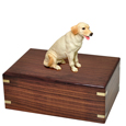 Yellow Labrador Retriever Figurine Wood Urn shown with no engraving
