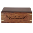 Engraving shown directly into front of wood pet urn