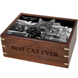 Additional engraving front Perfect Wooden Box Dog Urn Large with Photo Tile
